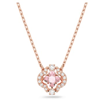 Colier Clover Swarovski Sparkling Dance, roz, placat în nuanță aur roz - Swarovski, 5514488