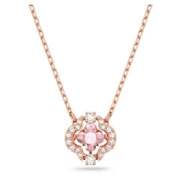 Swarovski Sparkling Dance 项链, 幸运草, 粉红色, 镀玫瑰金色调 - Swarovski, 5514488