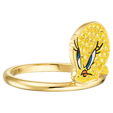 Pierścionek Looney Tunes Tweety, żółty, w odcieniu złota - Swarovski, 5514967