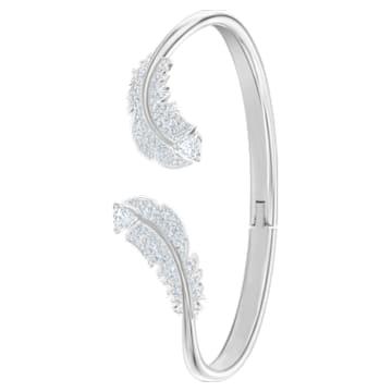Bracciale rigido Nice, bianco, Placcatura rodio - Swarovski, 5515032