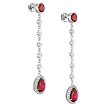 Lola Long Drop Earrings, Swarovski Created Rubies, 18K White Gold - Swarovski, 5515124