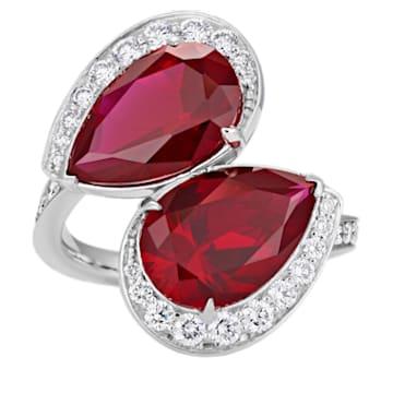 Lola Toi Et Moi Ring, Swarovski Created Rubies, 18K White Gold, Size 52 - Swarovski, 5515125
