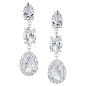 Lola Small Drop Earrings, Swarovski Genuine Topaz & Swarovski Created Diamonds, 18K White Gold - Swarovski, 5515128