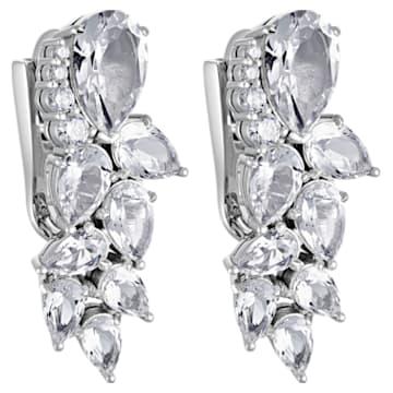 Luna Cluster Earrings, Swarovski Created Diamonds, 18K White Gold - Swarovski, 5515132