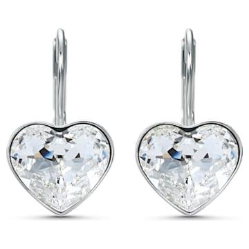 Bella Heart 이어링, 화이트, 로듐 플래팅 - Swarovski, 5515191