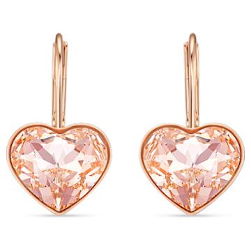 Bella Heart 穿孔耳环, 粉红色, 镀玫瑰金色调 - Swarovski, 5515192