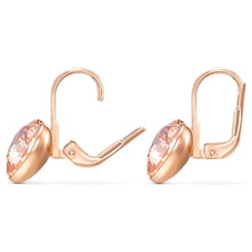 Τρυπητά σκουλαρίκια καρδιά Bella, λευκά, επιχρυσωμένα σε χρυσή ροζ απόχρωση - Swarovski, 5515192