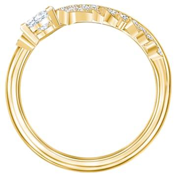Nice 圖形戒指, 白色, 鍍金色色調 - Swarovski, 5515384