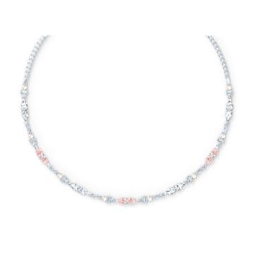 Perfection Chaton 项链, 粉红色, 镀铑 - Swarovski, 5515514
