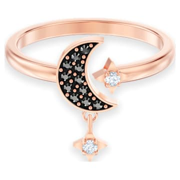 Swarovski Symbolic Moon Motif Ring, Black, Rose-gold tone plated - Swarovski, 5515665