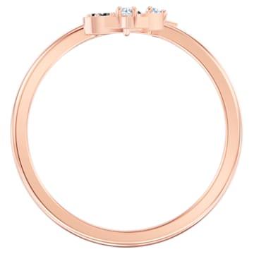 Swarovski Symbolic open ring, Moon and star, Black, Rose-gold tone plated - Swarovski, 5515668