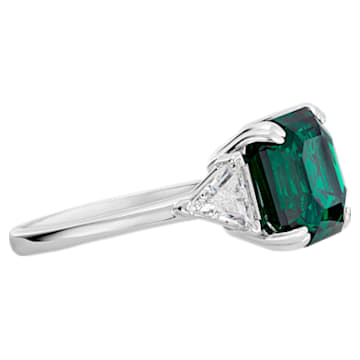 Attract Cocktail Ring, Green, Rhodium plated - Swarovski, 5515708