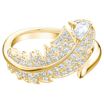 Nice 圖形戒指, 白色, 鍍金色色調 - Swarovski, 5515757
