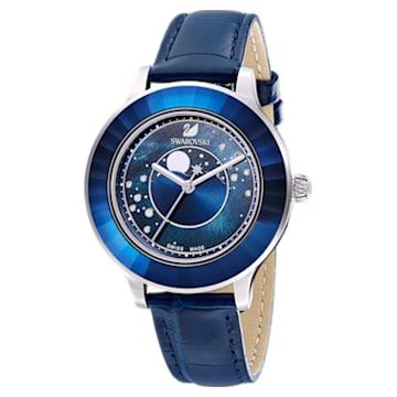 Octea Lux Uhr, Mond, Lederarmband, Blau, Edelstahl - Swarovski, 5516305
