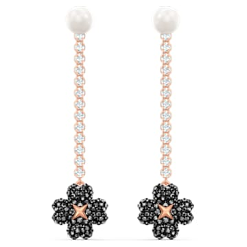 Boucles d'oreilles Latisha, noir, métal doré rose - Swarovski, 5516426