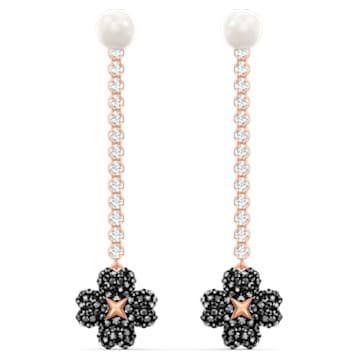 Latisha 穿孔耳环, 黑色, 镀玫瑰金色调 - Swarovski, 5516426