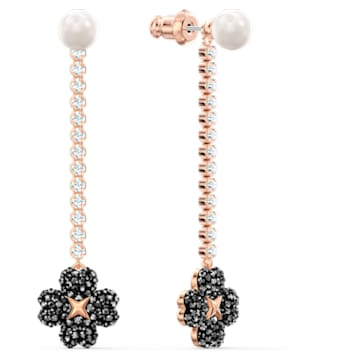 Τρυπητά σκουλαρίκια Latisha, μαύρα, επιχρυσωμένα σε χρυσή ροζ απόχρωση - Swarovski, 5516426