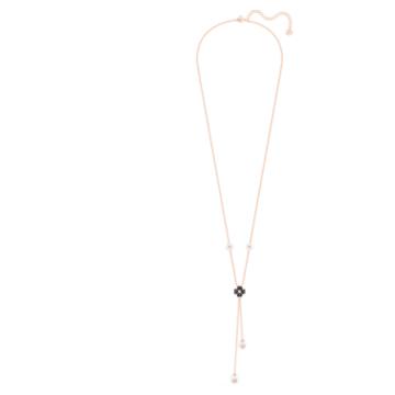 Latisha Y形项链, 黑色, 镀玫瑰金色调 - Swarovski, 5516428