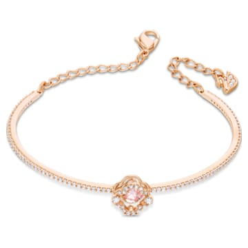 Bracelet-jonc Swarovski Sparkling Dance, Trèfle à quatre feuilles, Rose, Métal doré rose - Swarovski, 5516476
