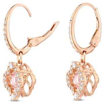 Swarovski Sparkling Dance 穿孔耳環, 幸運草, 粉紅色, 鍍玫瑰金色調 - Swarovski, 5516477