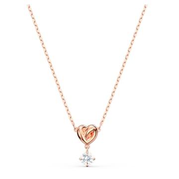 Lifelong Heart 鏈墜, 心形, 白色, 鍍玫瑰金色調 - Swarovski, 5516542