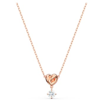 Lifelong Heart Pendant, White, Rose-gold tone plated - Swarovski, 5516542
