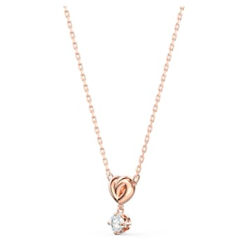 Lifelong Heart 链坠, 心形, 白色, 镀玫瑰金色调 - Swarovski, 5516542