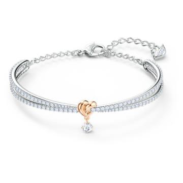 Lifelong Heart 手镯, 心形, 白色, 多种金属润饰 - Swarovski, 5516544