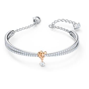 Lifelong Heart Жёсткий браслет, Белый Кристалл, Отделка из разных металлов - Swarovski, 5516544