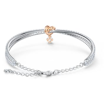 Bracelet-jonc Lifelong Heart, Cœur, Blanc, Finition mix de métal - Swarovski, 5516544
