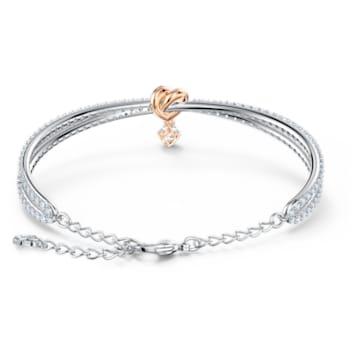 Náramek Lifelong Heart, bílý, smíšená kovová úprava - Swarovski, 5516544