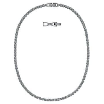 Tennis Deluxe 项链, 黑色, 镀钌 - Swarovski, 5517113