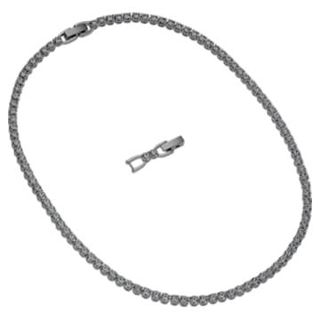 Tennis Deluxe-ketting, Zwart, Ruthenium toplaag - Swarovski, 5517113