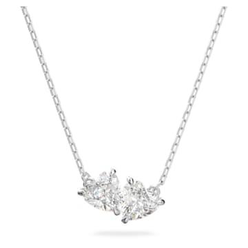 Attract Soul necklace, Heart, White, Rhodium plated - Swarovski, 5517117