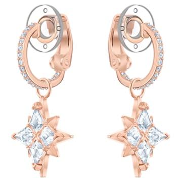 Swarovski Symbolic clip earrings, Star, White, Rose gold-tone plated - Swarovski, 5517732