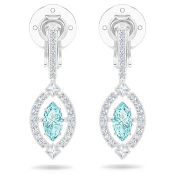 Swarovski Sparkling Dance clip earrings, Green, Rhodium plated - Swarovski, 5517737