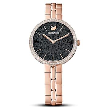 Montre Cosmopolitan, bracelet en métal, noir, PVD doré rose - Swarovski, 5517797
