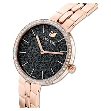 Ceas Cosmopolitan, brățară de metal, negru, nuanță aur roz aplicată prin depunere fizică de vapori - Swarovski, 5517797
