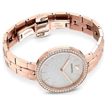 Montre Cosmopolitan, bracelet en métal, blanc, PVD doré rose - Swarovski, 5517803