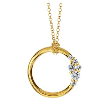 Glacial Medium Necklace, Swarovski Created Diamonds, 18K Yellow Gold - Swarovski, 5517827