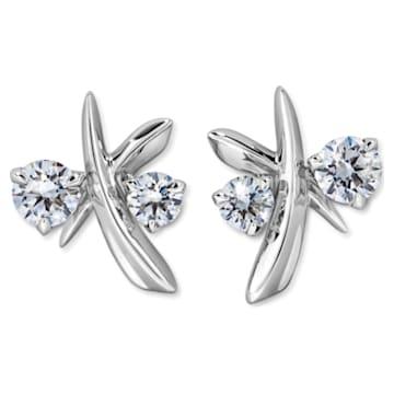 Encounter Stud Earrings, Swarovski Created Diamonds, 18K White Gold - Swarovski, 5517832