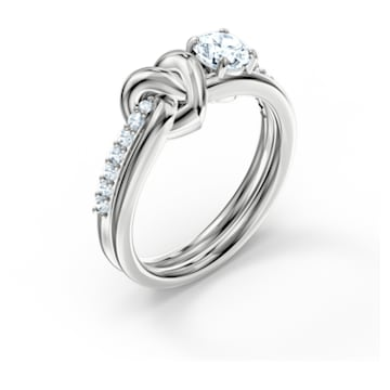 Bague Lifelong Heart, blanc, métal rhodié - Swarovski, 5517930