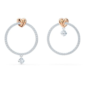 Lifelong Heart Hoop Pierced Earrings, White, Mixed metal finish - Swarovski, 5517933