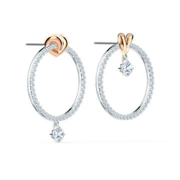 Pendientes de aro Lifelong Heart, blanco, combinación de acabados metálicos - Swarovski, 5517933