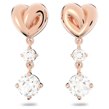 Lifelong Heart 穿孔耳环, 心形, 白色, 镀玫瑰金色调 - Swarovski, 5517942