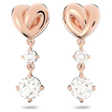 Lifelong Heart 穿孔耳环, 白色, 镀玫瑰金色调 - Swarovski, 5517942