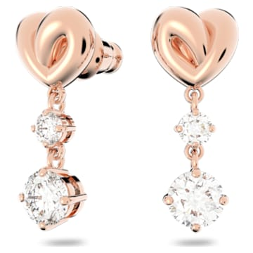 Lifelong Heart 穿孔耳環, 心形, 白色, 鍍玫瑰金色調 - Swarovski, 5517942
