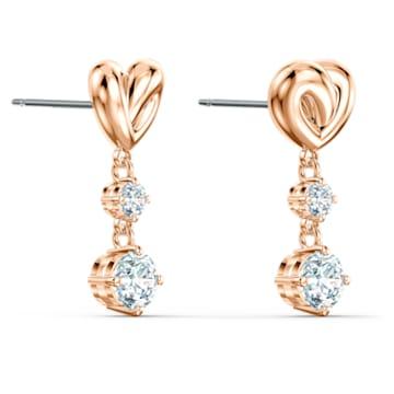 Boucles d'oreilles Lifelong Heart, Cœur, Blanc, Métal doré rose - Swarovski, 5517942