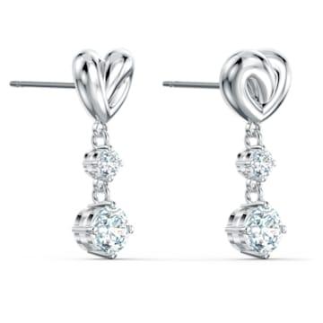 Boucles d'oreilles Lifelong Heart, blanc, métal rhodié - Swarovski, 5517943