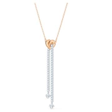 Collar en Y Lifelong Heart, blanco, combinación de acabados metálicos - Swarovski, 5517952